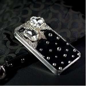 Girl Case   Stylish Hard Shell Bling Case with Rhinestone Crystal Bow