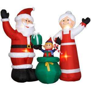 NEW CHRISTMAS INFLATABLE WAVING SANTA MRS. CLAUS & ELF