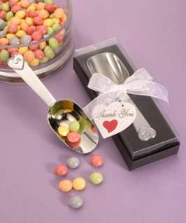 30   Heart Design Chrome Candy Scoop Scoops   Wedding Favors