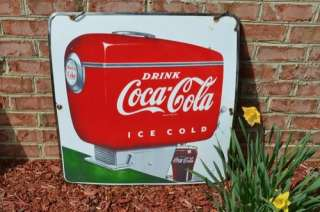 VINTAGE SCARCE COCA COLA SODA DRINK 1940s PORCELAIN ADVERTISING SIGN