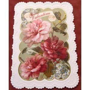 Carol Wilson Valentines Day Card   Camellias and Forget Me Nots