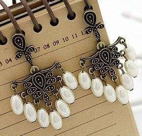 Fashion Jewelry copper gold womens pearl like earrings stud