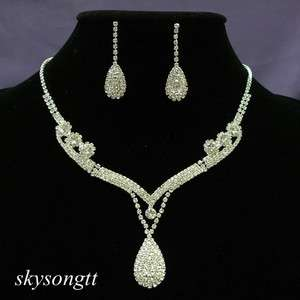 Swarovski Clear Crystal Rhinestone Drop Pendant Necklace Earrings Set