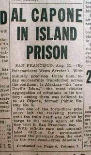 1934 Chicago newspaper headline RALPH CAPONE sent to Jail & Al sent to