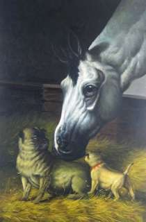 Horse & Dog, High Quality Naturalism Oil Painting 2x3