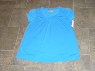 NWT Duo Maternity Blue Blouse Top Shirt Large L