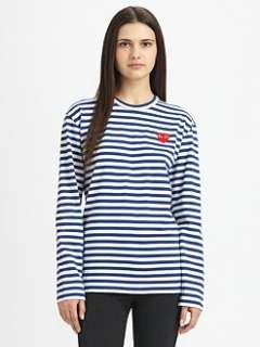 Comme des Garcons Play   Cotton Striped Long Sleeve Tee