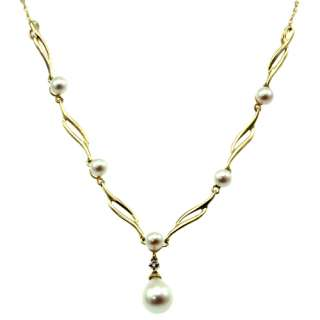 10k yellow gold white pearl diamond necklace