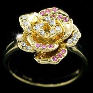 Gold Plated Rose Ring use Swarovski Crystal SR098
