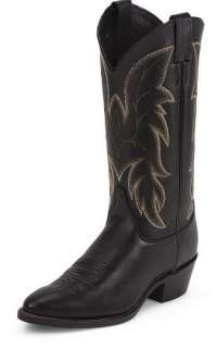 NIB Justin Mens Royal Black Cowhide Leather Boot #1419 Black