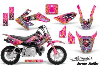 GRAPHICS STICKER DECALS MOTO HONDA CRF50 CRF 50 PITBIKE ED HARDY PINK