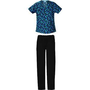 Patch Print Mock Wrap Top and Black Utility Scrub Pant Home Medical