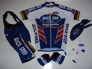 size M QUICK STEP Team Cycling Set Jersey Bib Shorts Gloves Skull Cap