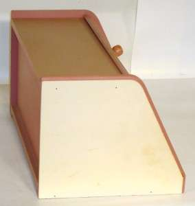 Vtg 1980s COUNTRY FARM Scene WOODEN BREAD BOX Pink & Yellow Green BLUE