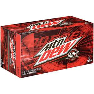 Mountain Dew Code Red Soda, 12 oz, 8pk Beverages
