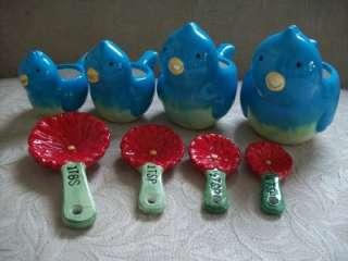 RETRO BLUEBIRD BLUE BIRD MEASURING CUPS SPOONS BLUEBIRD