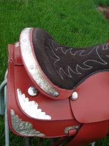 15 TAN WESTERN TRAIL HORSE SADDLE SHOW SILVER 4PC SET |
