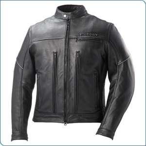 Mens Victory Black Motorcycle STEALTH Leather Jacket