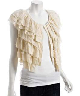 Geren Ford cloud cotton silk burnout ruffle top