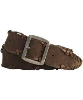 John Varvatos brown suede laced leather belt
