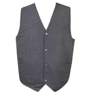 HM 40 Mens Matte Black Motorcycle Leather Vest   Size  XL Automotive