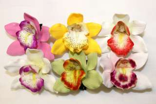 Hawaiian Tropical Wedding Bridal Party Orchid Foam Flower Hair Clips