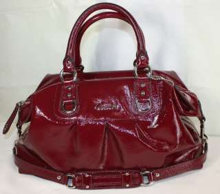 NEW COACH ASHLEY PATENT LEATHER LG SATCHEL GARNET RED 15454 $498 NWT
