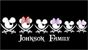 Mickey & Minnie Pirate Family Vinyl Car Decal Sticker