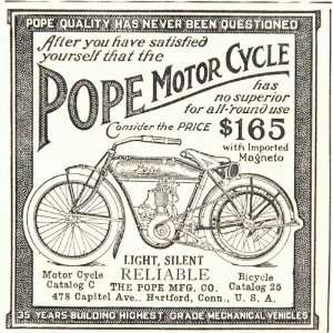 1912 Pope Motorcycle Motor Bike Hartford Connecticut Ad