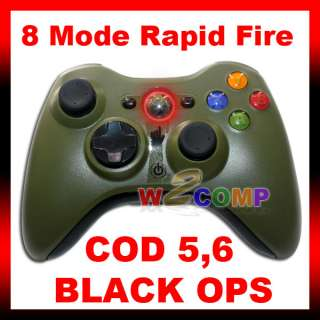 NEW 8 MODE GREEN XBOX 360 RAPID FIRE MODDED CONTROLLER for COD BLACK