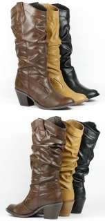 Cowboy Western Mid Calf Slouchy Riding Boot Black Brown Tan Beige