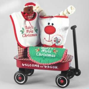 Christmas Gift Set Featuring a Miniature Red Wagon