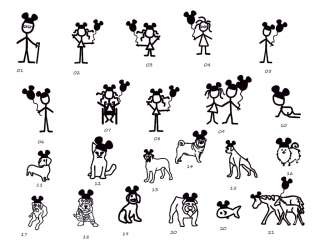 MICKEY FAMILY & DOGS/ANIMALS FAMILY STICK FIGURE CAR DECAL