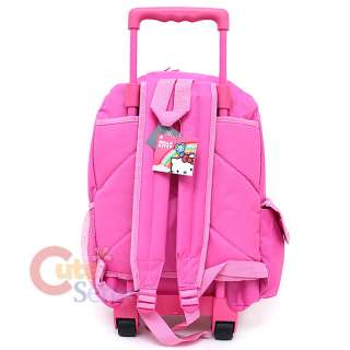 Kitty Large School Roler Bag Rolling Backpack Pink Teddy Bear 4