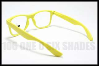 80s RETRO Old School Vintage Clear Lens Glasses YELLOW Frame