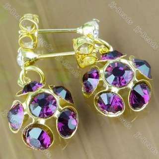 Gold Plated Purple Rhinestone Flower Earring Stud 1Pair Ear Ring